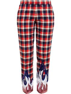 Filles A Papa Checked Sequin Detail Trousers - Browns - Farfetch.com