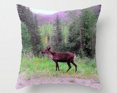 Caribou Pillow, Reindeer Pillow, Animal Pillow, Throw Pillow Cover, Nature Pillow, Scenery Pillow, Alaska Pillow, Purple Pillow, Forest, Art by laineydesigns. Explore more products on http://laineydesigns.etsy.com