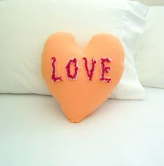 Love Heart Pillow with Chenille Letters, Valentine Conversation Heart by PatternsOfWhimsy on Etsy