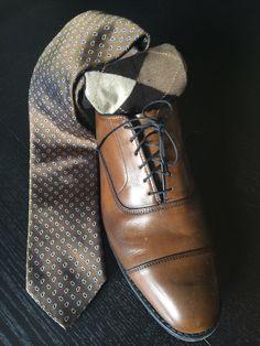 Brown shoes, tie and socks. Allen Edmonds