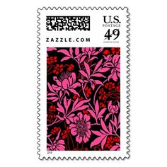 BERKELEY BLOSSOMS TWO-TONE Black, Red & Hot Pink Postage