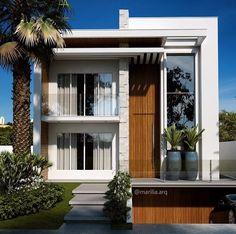 New exterior house black and white landscaping ideas Modern Exterior House Designs, Modern House Facades, Modern Villa Design, Dream House Exterior, Modern Architecture House, Exterior Design, Duplex House Design, House Front Design, Home Building Design
