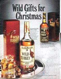 """Description: 1979 WILD TURKEY WHISKEY vintage magazine advertisement """"Wild Gifts"""" -- Wild Gifts for Christmas ... finest crystal by Baccarat with Captain's chest ... Wild Turkey ceramic decanter in bisque finish -- Size: The dimensions of the centerfold advertisement are approximately 20.5 inches x 13 inches (52 cm x 33 cm). Condition: This original vintage centerfold advertisement is in Excellent Condition unless otherwise noted."""