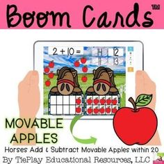 Hold your horses! In Horses Add and Subtract Movable Apples, learners answer 15 addition and subtraction math questions using movable red apples. Learners set up the problem to solve using movable apples for sums and differences within 20. This is a self correcting product. Teaching Materials, Teaching Resources, Teaching Ideas, Math Questions, Second Grade Math, Adding And Subtracting, Primary Education, Math Skills, Addition And Subtraction