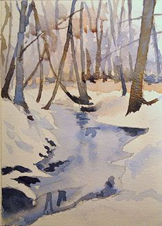 Watercolor Tutorial: Painting a Winter Stream Watercolor Landscape Tutorial, Watercolor Video, Watercolour Tutorials, Watercolor Techniques, Watercolor Paintings, Painting Tutorials, Painting Tips, Watercolours, Oil Paintings