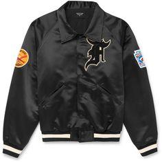 Fear of God Appliquéd Satin Bomber Jacket ($1,495) ❤ liked on Polyvore featuring men's fashion, men's clothing, men's outerwear, men's jackets, mens satin jacket, men's embroidered bomber jacket, mens patch jacket, mens satin baseball jacket and mens satin bomber jacket