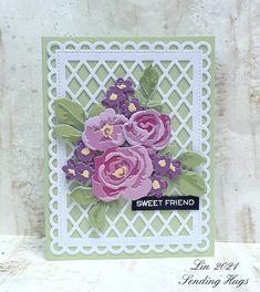 Card Kit, I Card, Sending Hugs, Tiny Flowers, Flower Cards, Homemade Cards, Pattern Paper, Hand Lettering, Card Stock