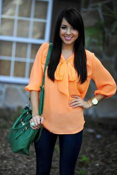 Blouse: Neon Orange