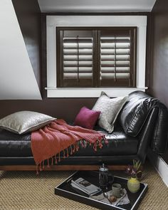 """Handmade from top-grade, sustainably grown 100% basswood, the clean, structured lines of our custom Wood Shutters instantly create an atmosphere of nobility. Wood Shutters are shipped in 6 business days. Starting at $41   Pictured:   Smith & Noble 3 1/2"""" Louver Wood Shutters  Walnut 12589  #windowtreatments #homedecor #smithandnoble #windows #blinds #shades"""