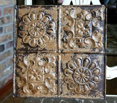 """12"""" Antique Tin Ceiling Tile -- Beautiful Rusty Metal Patina --- A1   eBay"""