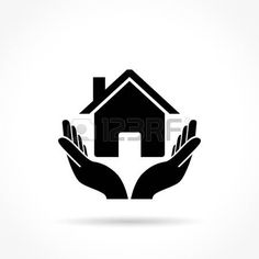 logotipo inmobiliaria: Illustration of house icon with hands concept