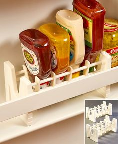 Keep your condiments upside down and ready to dispense with this Set of 2 Upside Down Bottle/Jar Racks. Each of the 2 racks can hold up to 5 bottles or jars. Refrigerator Organization, Kitchen Cabinet Organization, Organization Hacks, Kitchen Storage, Drawer Storage, Freezer Organization, Drawer Dividers, Cabinet Ideas, Organizing Ideas