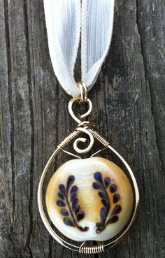 Handmade Lampworked Glass Pendant with Brass by CourtneyBDesigns, $64.99