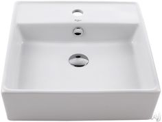 "Kraus KCV150 18 3/5"" White Square Ceramic Sink with 5 4/5"" Bowl Depth and 1 3/4"" Drain Hole"
