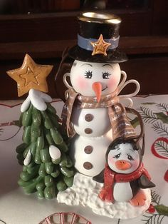 Snowman and penguin Sculpey clay sculpture