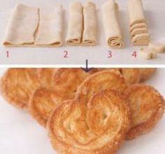 Sweet Palmiers Recipe Desserts with puff pastry, sugar.drizzle with glazed topping. Sweet Puff Pastry Recipes, Puff Pastry Desserts, Köstliche Desserts, Sweet Recipes, Dessert Recipes, Pastries Recipes, Puff Pastries, French Desserts, Snacks