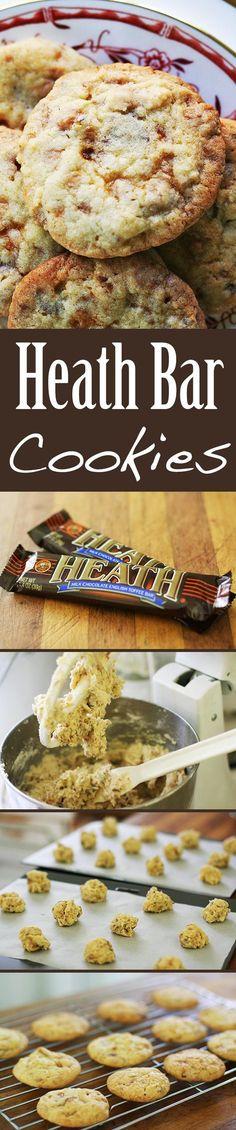 Heath Bar Cookies ~ Irresistible Heath bar cookies recipe, made with chunks of Heath toffee bars. ~ SimplyRecipes.com