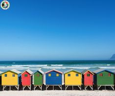 size: Photographic Print: Colorful Bathhouses at Muizenberg, Cape Town, South Africa, Standing in a Row. by E P Adler : Cape Town South Africa, Table Mountain, Leaving Home, Beach Landscape, Most Beautiful Cities, Framed Artwork, The Row, Places To Go, Scenery