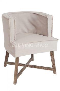 Landelijke stoel met armleuningen en eiken houten poten, J-line LIVING-shop.eu