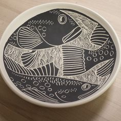 Laurie Landry Sgraffito fish bowl 2015 www.laurielandrypottery.com