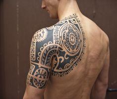Black Tribal Tattoos Half Sleeve #marquesantattooshalfsleeves #marquesantattoosformen #samoantattoossleeves