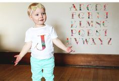 Custom Floral Letter Baby Infant Newborn Graphic by ElemenoTees