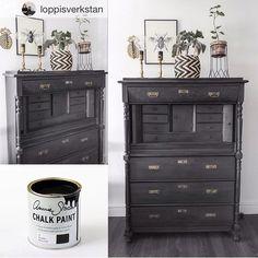 Cada vez me gustan más los muebles pintados con #chalkpaint casi negro #graphite. Este lo ha #pintado el #puntodeventa de #anniesloan @loppisverkstan #mueblespintados #mueblesrecuperados #vitoriagasteiz