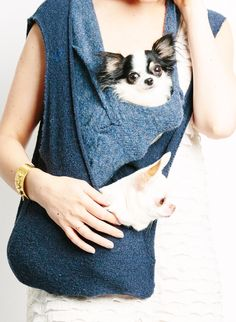 Double Scarf Sling Small Dog Puppy Pet Carrier with by HeartPup