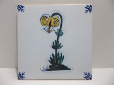 """Vintage DELFT ART TILE Hand Painted YELLOW FLOWER HOLLAND 5.25"""""""