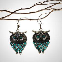 Blue jewelled owl earrings