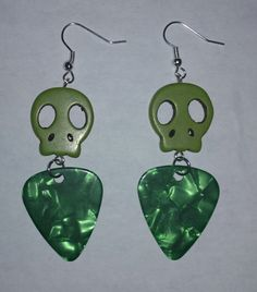 Green Skull and Guitar Pick Earrings by NocturnalFashions on Etsy, $7.00