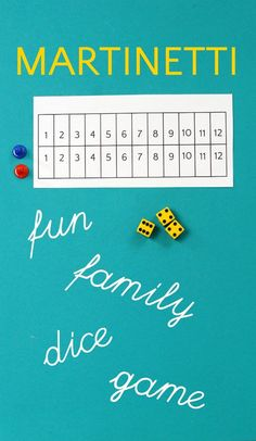 Dice Game: A Nail-Biting Family Game of Chance Martinetti dice is a un game of chance which practices math addition skills.Martinetti dice is a un game of chance which practices math addition skills. Group Games, Family Games, Games For Kids, Games To Play, Family Family, Fun Group, Couple Games, Kids Fun, Dice Games