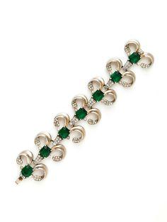 House of Lavande Green & Clear Crystal Curved Station Bracelet
