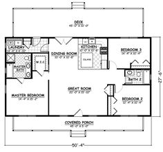 This extraordinary Ranch style home with Cape Cod attributes (Plan has 1381 square feet of living space. The floor plan includes 3 bedrooms. Rectangle House Plans, Metal House Plans, Pole Barn House Plans, House Plans One Story, Ranch House Plans, New House Plans, Dream House Plans, Small House Plans, House Floor Plans