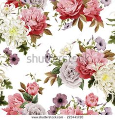 Seamless floral roses with chrysanthemum and peonies on light background, watercolor