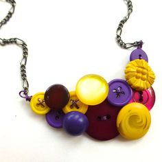 Violets Purples and Yellows Button Necklace - Complimentary Colors on Etsy, $30.00