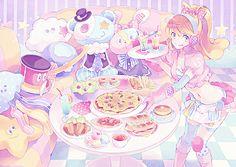 ✮ ANIME ART ✮ pastel. . .waitress. . .apron. . .stockings. . .headphones. . .ponytail. . .food. . .pizza. . .tea. . .sandwiches. . .stuffed animals. . .plushies. . .colorful. . .cute. . .kawaii