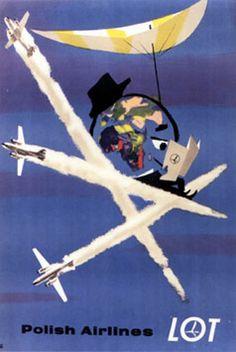 Janusz Grabianski - poster art for Polish Airlines LOT Retro Airline, Airline Travel, Vintage Airline, Air Travel, Art Deco Posters, Cool Posters, Retro Poster, Poster Vintage, Pub