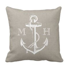 Rustic Classic Anchor Wedding ceremony Monogram Throw Pillow.  See more by checking out the image link