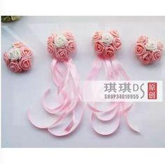 Cute chic PE simulation rose door handles delicate dress wedding car decorated room