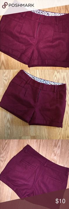 Vintage women's shorts Vintage style shorts. Wool feel on the outer and a silk lining inside them. Maroon is the color Shorts