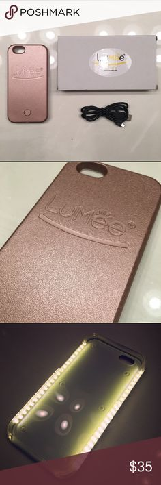 Rose Gold iPhone 6+ Lumee Selfie Case Kardashia Brand new rose gold 6+ Lumee case. LED lighting on sides of the case gives you a soft and beautiful light for every occasion. Features: Dimmer Switch to control light output and lets you control the light. Rechargeable battery and charging cord. Long lasting battery that works independently of your phone.Tough, impact resistant plastic. Your phone is snug and safe! Light at the tip of your fingers. Perfect lighting is just a click away with an…