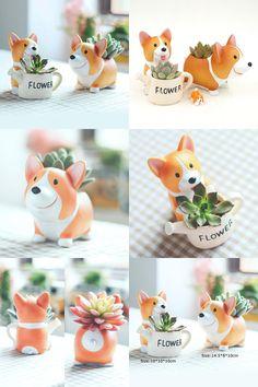 [Visit to Buy] 1pc Creative Resin Corgi Succulent Plant Pots Mini Flower Pot Decorative Desktop Flowerpot Fairy Garden Home Garden Decoration  #Advertisement