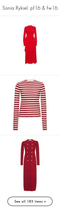 """Sonia Rykiel: pf16 & fw16"" by livnd ❤ liked on Polyvore featuring collection, soniarykiel, prefall2016, fallwinter2016, dresses, sonia rykiel, frill dress, red flounce dress, red tiered dress and frilly dresses"