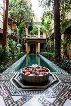 From the court of Riyad Al Moussika in Marrakech Riad Morocco Interior Exterior, Exterior Design, Interior Garden, Riad Marrakech, Marrakesh, Marrakech Travel, Moroccan Tiles, Moroccan Decor, Moroccan Curtains