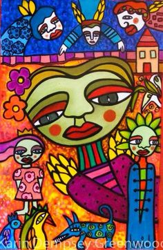 Naive Art : By Karin Dempsey Greenwood. Vibrant Colors, Colours, Different Media, Naive Art, Fictional Characters, Vivid Colors, Fantasy Characters