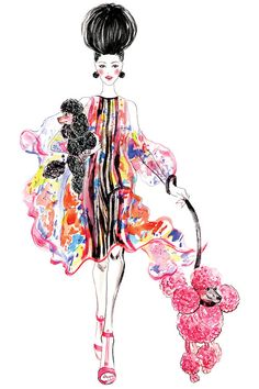 POODLES, outfit inspired by Elie Saab Spring RTW collection-Illustration by Sunny Gu Glamour Moda, Watercolor Fashion, Watercolor Art, Fashion Art, Fashion Design, Fashion Models, Fashion Beauty, Illustration Sketches, Fashion Sketches