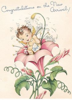 Vintage baby girl postcard