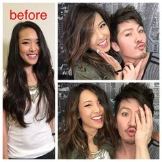 """Guy Tang on Instagram: """"New transformation video is up using @schwarzkopfusa #highpowerbrowns with the beautiful Jen @frmheadtotoe ! Jen cut off all her long hair to a beautiful Lob! Video Link is in my bio!"""""""