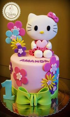 Trendy Cake Fondant Girl Hello Kitty Ideas You are in the right place about birthday cake Here we offer you the most beautiful pictures about the birthday cake for him you are looking f Hello Kitty Torte, Hello Kitty Fondant, Torta Hello Kitty, Hello Kitty Cupcakes, Hello Kitty Birthday Theme, Hello Kitty Themes, Baby Girl Cakes, Baby Birthday Cakes, 20th Birthday